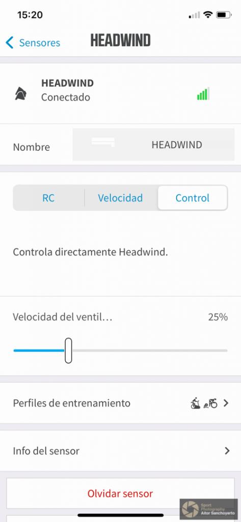 Detalle de la configuración del KICKR HEADWIND de WAHOO