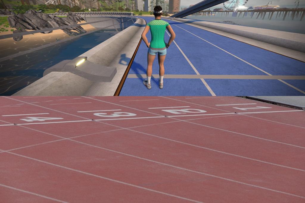 Pista de atletismo de 400 metros en Watopia (Zwift): May Field run track