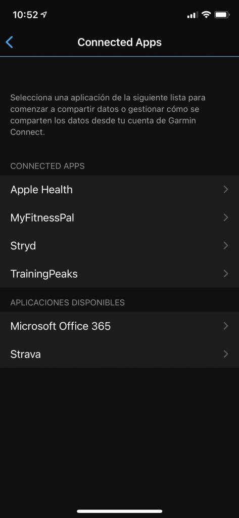 Aplicaciones conectadas a Garmin Connect