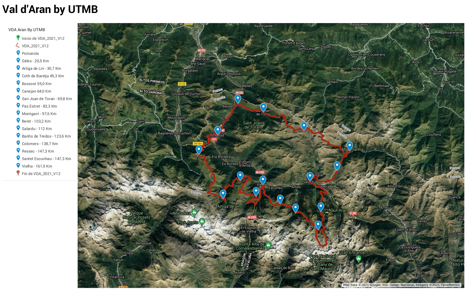 Recorrido VDA - Val d'Aran by UTMB 2021