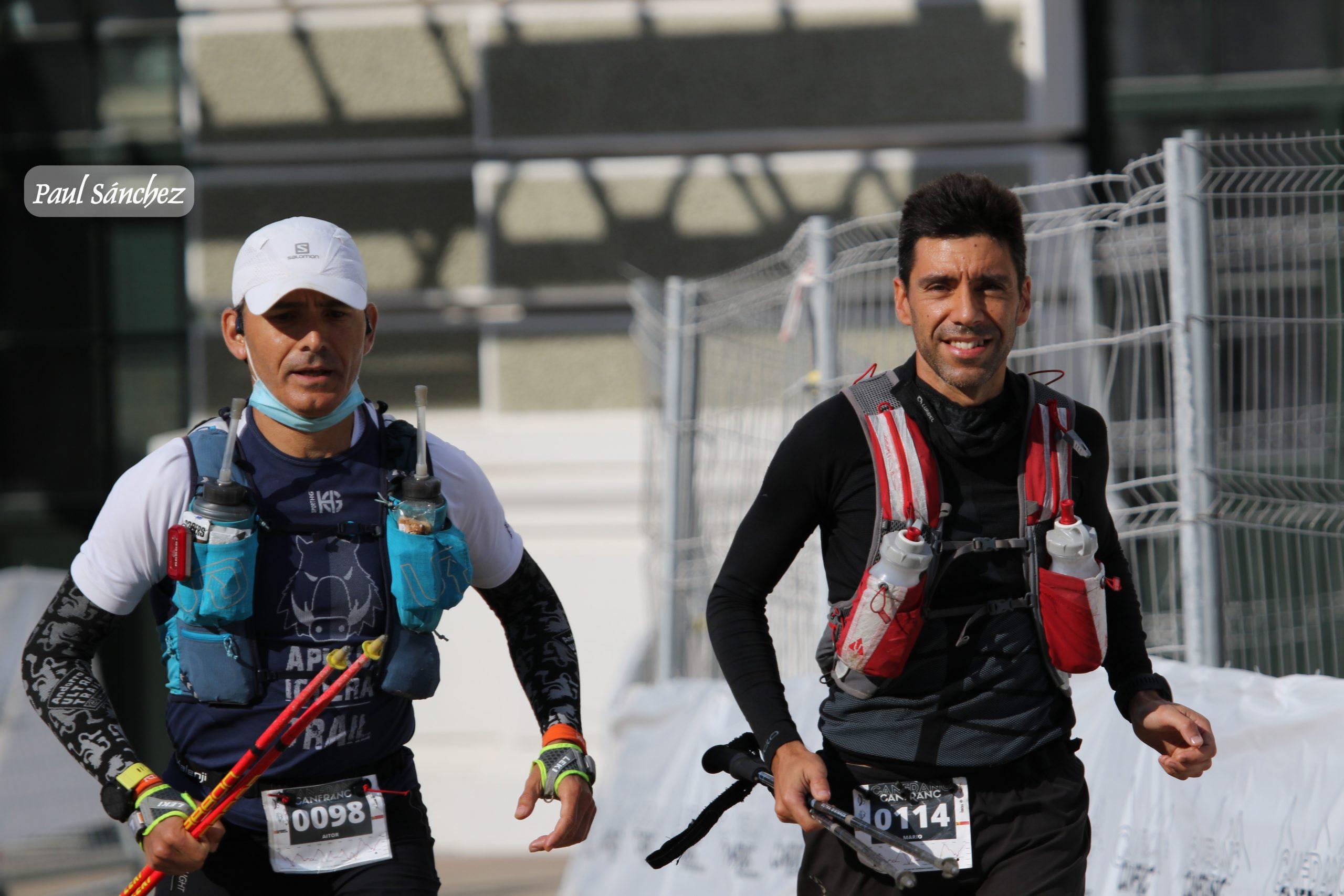 Llegada a la meta con Mario en la Canfranc Canfranc 2021  100 Km